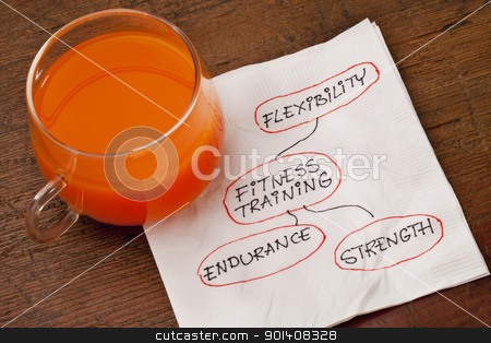 fitness training napkin concept stock photo, health concept - fitness training - napkin doodle with a glass cup of carrot juice by Marek Uliasz