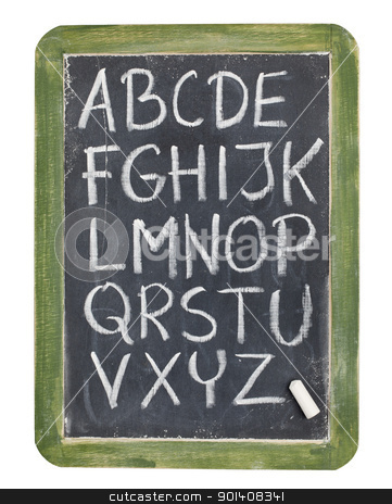 alphabet in chalk on blackboard stock photo, English alphabet - rough handwriting with white chalk on old slate blackboard, isolated on white by Marek Uliasz