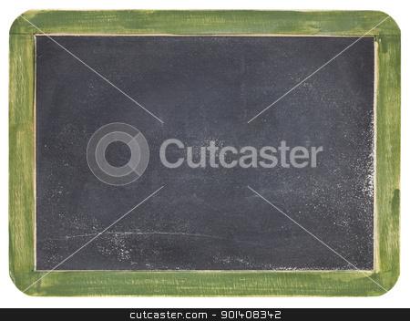 old slate blackboard stock photo, old blank slate blackboard with white chalk dust and texture, green wood frame by Marek Uliasz