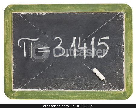 the number pi on a small blackboard stock photo, mathematics concept - the number pi on a small slate blackboard, isolated on white by Marek Uliasz