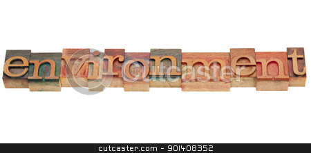 environment in letterpress type stock photo, environment word in vintage grunge wooden letterpress printing blocks, stained by color inks, isolated on white by Marek Uliasz