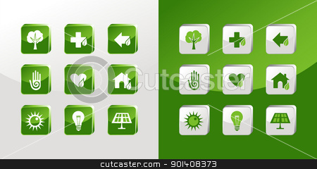 Go Green icons set stock vector clipart, Environment icons glass set over light and dark background. Vector file available by Cienpies Design