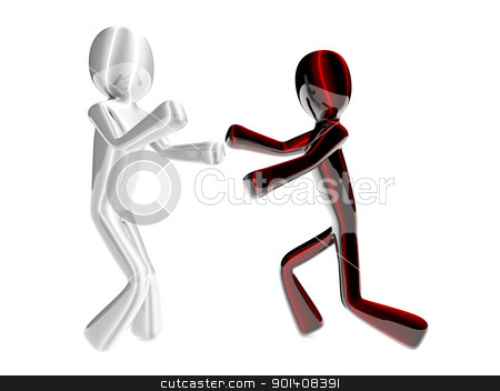 Black vs. White stock photo, Two fighting Cartoon figures. 3D rendered Illustration. Isolated on white. by Michael Osterrieder