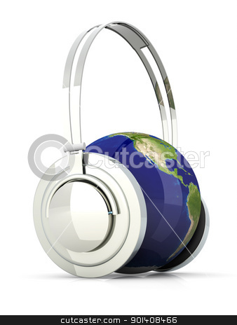 The Sound of America stock photo, The music of America. Headphones and a world globe. 3D rendered Illustration.  by Michael Osterrieder