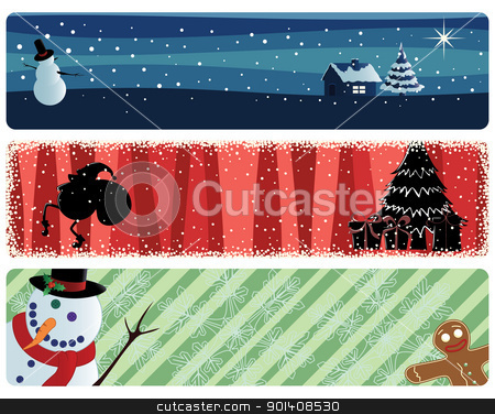 xmas_banners stock vector clipart, three christmas banners by wingedcats