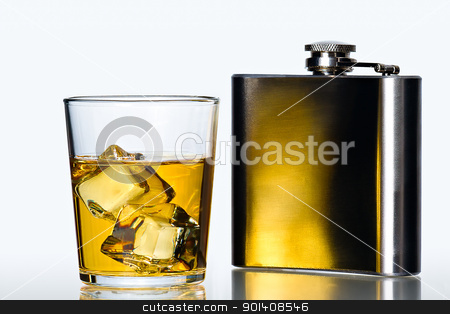 Hip flask and Whisky on the rocks stock photo, glass of whisky on the rocks  and stainless flask on white background by Gert Lavsen