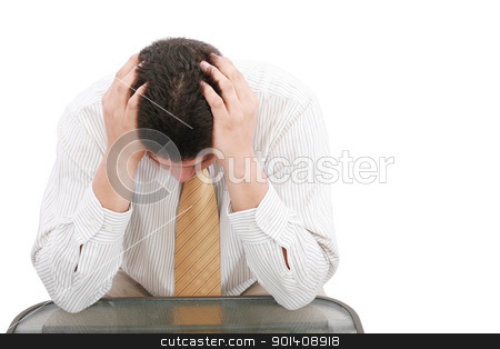 Close up of businessman holding hands up to face  stock photo, Close up of businessman holding hands up to face   by dacasdo