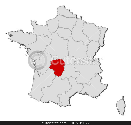 Map of France, Limousin highlighted stock vector clipart, Political map of France with the several regions where Limousin is highlighted. by Schwabenblitz