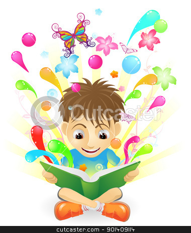The joy of learning stock vector clipart, A boy reading an amazing book.  by Christos Georghiou