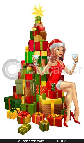Woman Santa on stack of gifts stock vector clipart, Pretty woman in Santa outfit sitting on stack of gifts by Christos Georghiou
