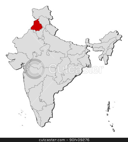 Map of India, Punjab highlighted stock vector