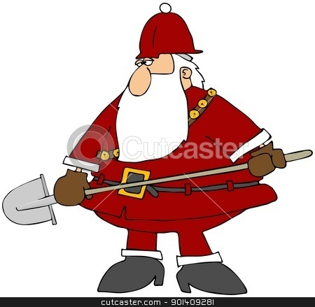 Construction Santa stock photo, This illustration depicts Santa Claus with a red hard hat and carrying a shovel. by Dennis Cox