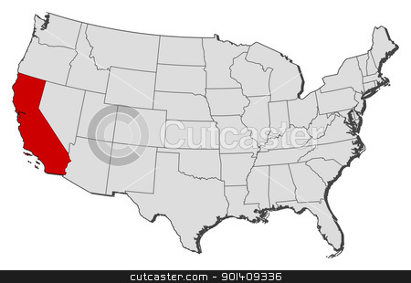 Map of the United States, California highlighted stock vector