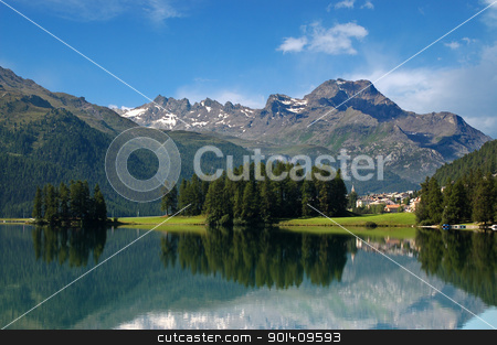 Alps in Switzerland - Silvaplana - St. Moritz stock photo, Swiss Alpine Landscape with lake, woodland and small town  by catalby