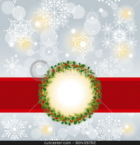 Christmas greeting card stock vector clipart, Christmas greeting card with Christmas wreath red ribbon on seamless pattern background by meikis