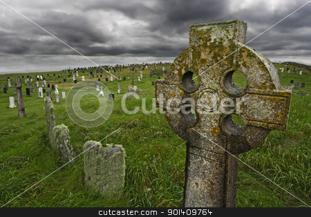 Old Celtic gravesite stock photo, Old Celtic gravesite with unmarked gravestones from the 1600's in the middle of a meadow in rural Scotland.  by © Ron Sumners
