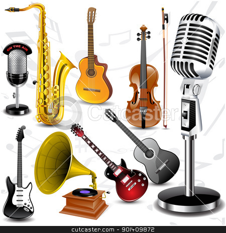 Vector musical instruments stock vector clipart, Set off different musical instruments. Vector illustration by Vladimir Gladcov