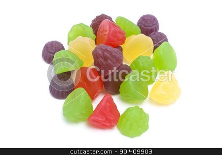 Colorful fruits candy stock photo, Colorful fruits candy closeup on white background by Sasas Design