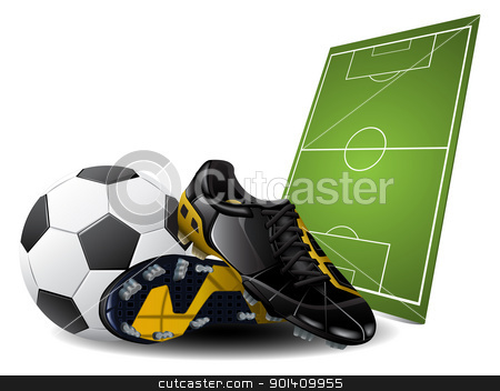 Soccer boots and ball stock vector clipart, Vector illustration of soccer boots and ball. Football Background by Vladimir Gladcov