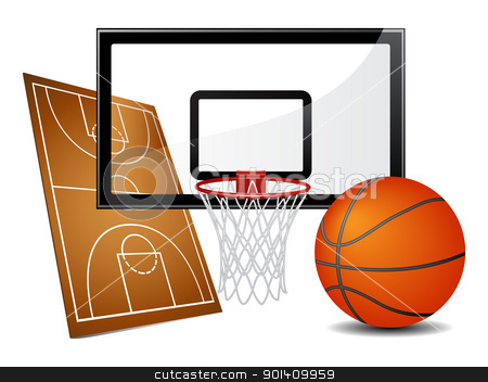 Basketball design elements stock vector clipart, Basketball design elements - field, ball and hoop. Vector illustration by Vladimir Gladcov