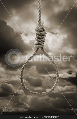 Noose stock photo, Sepia toned photograph of a hangman's Noose against cloudy sky. by Stocksnapper
