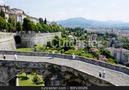 Bergamo stock photo, ERGAMO, LOMBARDY, ITALY - MAY 29: Scenery and the town wall of the Bergamo Citta Alta, May 29, 2011 in Bergamo, Lombardy, Italy by Stocksnapper