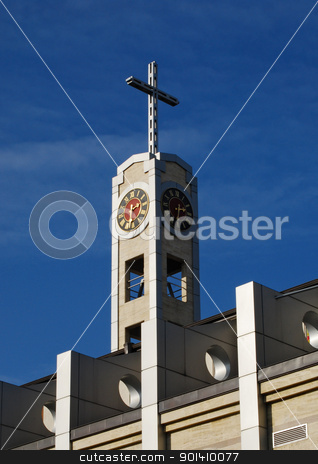 Modern Catholic Church  stock photo, Cross and clock of modern catholic church on sky background by Aleksandar Varbenov