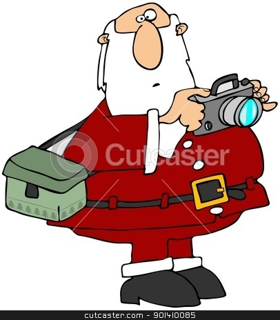 Santa Taking Photos stock photo, This illustration depicts Santa Claus taking photographs.  by Dennis Cox