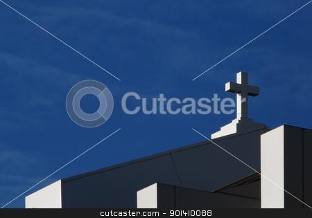 Modern church cross stock photo, Cross of modern catholic church on sky background by Aleksandar Varbenov