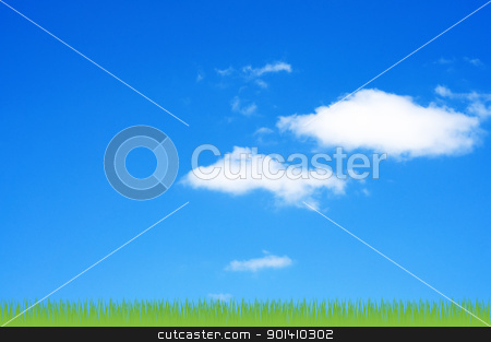 Sky and clouds background with grass. stock photo, Sky and clouds background with grass. by Borys Shevchuk