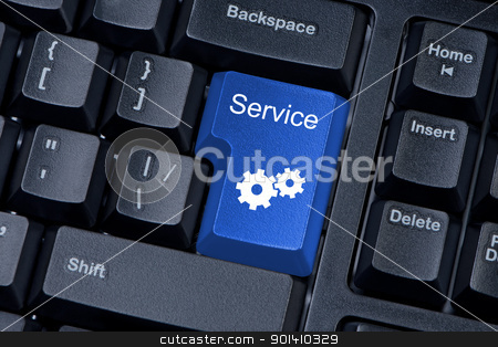 Service blue button computer keyboard internet concept. stock photo, Service blue button computer keyboard internet concept. by Borys Shevchuk
