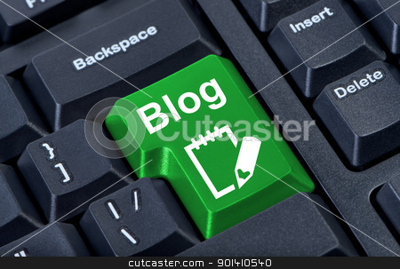 Green button with icon blog, internet concept. stock photo, Green button with icon blog, internet concept. by Borys Shevchuk