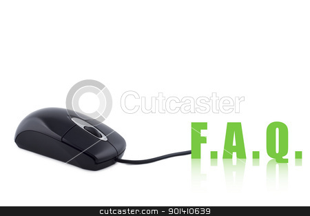 Computer mouse and word FAQ isolated concept. stock photo, Computer mouse and word FAQ isolated concept. by Borys Shevchuk