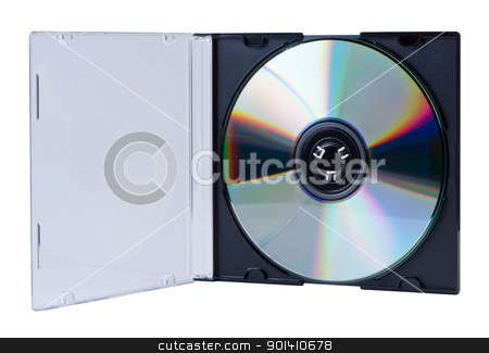CD in the open box isolated. stock photo, CD in the open box  isolated on white background without shadow. Clipping paths. by Borys Shevchuk