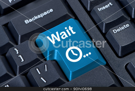 Button wait computer keyboard with clock icon. stock photo, Button wait computer keyboard with clock icon. by Borys Shevchuk
