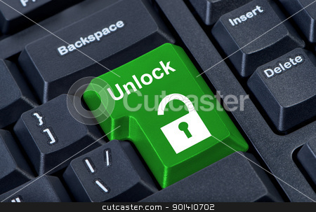 Button keypad unlock with padlock icon. stock photo, Button keypad unlock with padlock icon. Internet concept. by Borys Shevchuk
