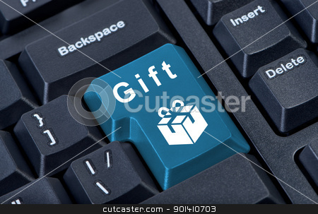Button keypad with gift box icon. stock photo, Button keypad with gift box icon.  Internet concept. by Borys Shevchuk