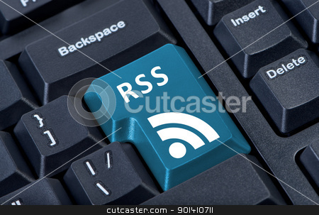 Button keypad RSS with icon. stock photo, Button keypad RSS with icon. Concept of internet communication and media. by Borys Shevchuk