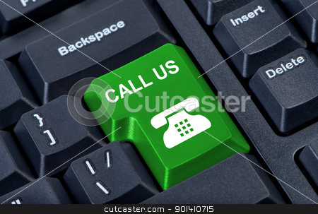 Button call us computer keyboard with phone icon. stock photo, Button call us computer keyboard with phone icon. by Borys Shevchuk