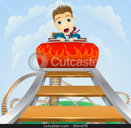 Business roller coaster ride concept stock vector clipart, Illustration of a business man looking very scared on a roller coaster  by Christos Georghiou