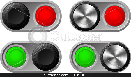 Toggle switches with green and red lights stock vector clipart, Illustration of toggle switches in both settings with green and red lights by Christos Georghiou