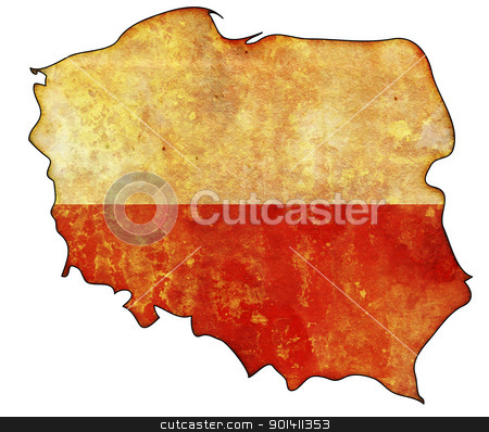 poland flag on territory stock photo, old map of poland with flag on country territory by michal812