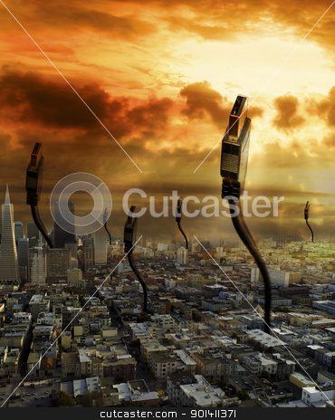 connecting city stock photo, digital graphic of city with cables to connect by michal812