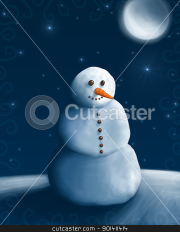 SnowMan stock photo, Snow man under the moon and stars by Giordano Aita