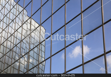 reflection of cloud and blue sky stock photo, reflection of cloud and blue sky in glass facade by anton havelaar