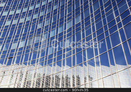 reflection of sky and building stock photo, reflection of blue sky and building in curved facade by anton havelaar