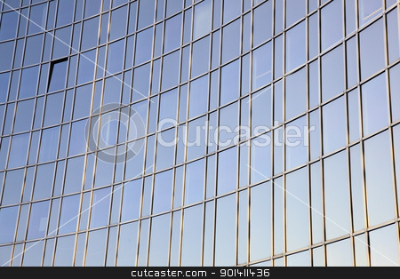 curved  glass facade stock photo, blue sky reflected in curved facade of glass and steel  by anton havelaar
