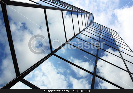 looking up to glass and reflections stock photo, looking up to glass and reflections of clouds and sky by anton havelaar