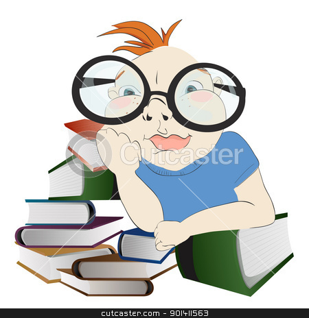 Little Reader  stock vector clipart, Boy with books. by Oko Laa