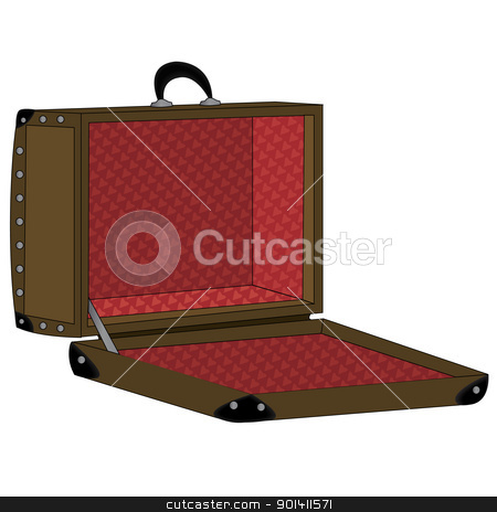 Suitcase  stock vector clipart, Old, brown, opened suitcase.  by Oko Laa